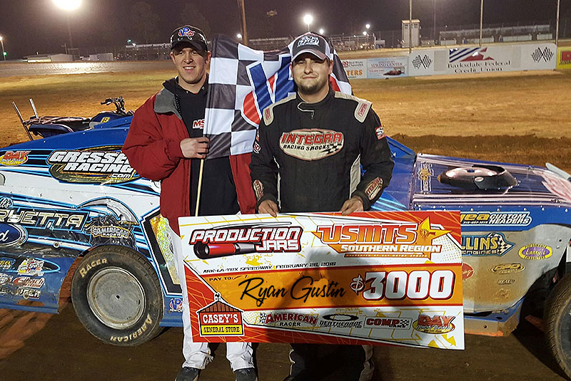 Gustin over Hughes in classic USMTS battle at Ark-La-Texas Speedway