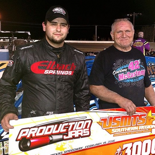 Ryan and Roger in victory lane after winning the USMTS feature on Friday, Feb. 19, at the Heart O' Texas Speedway in Elm Mott, Texas.