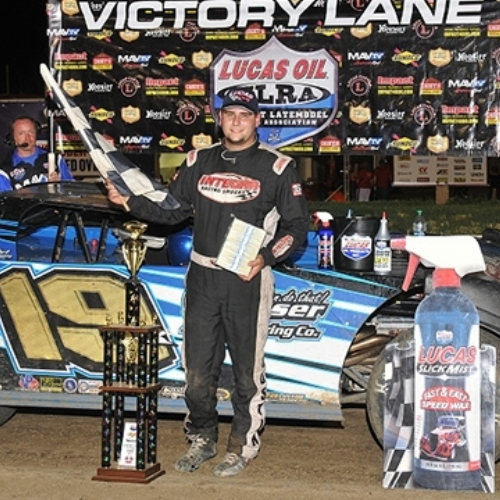 ryan in victory lane after his career-first Lucas Oil MLRA Late Model win at the I-80 Speedway in Greenwood, Neb., on Friday, June 28. (Lloyd Collins Photo)